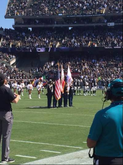 Color Guard team presenting the Colors during a Raider's home game.