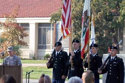 Cadets post the Colors during Fresno State Veteran's week memorial ceremony