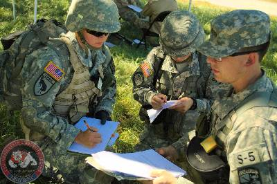 Cadets receive an OPORD before a training mission