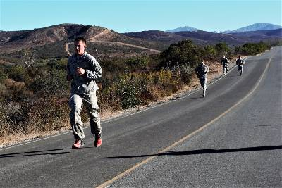 Cadet Tyler Fry Running during the Ranger Challenge PT event